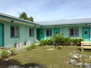 We have 12 apartments for teachers. Each is air conditioned. Most have views of the ocean off the back bedroom.
